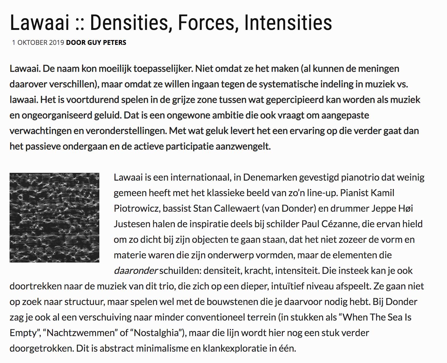 lawaai densities forces intensities enola