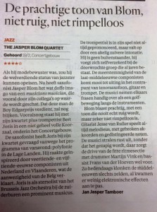 De parool - Review - Jasper blom Quartet feat Bert Joris