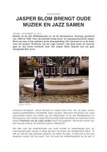 Jazz NU - Interview Brengt oude muziek en jazz samen - Jasper Blom Quartet feat. Bert Joris-1